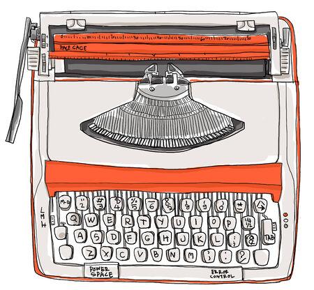 two tone: Typewriter two tone cream orange vintage