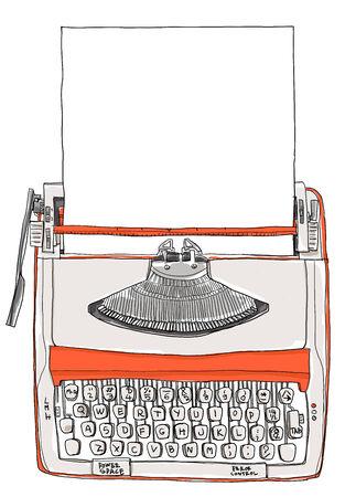 two tone: Typewriter two tone cream orange with paper vintage