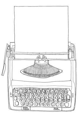 two tone: Typewriter two tone cream orange with paper vintage line art Stock Photo