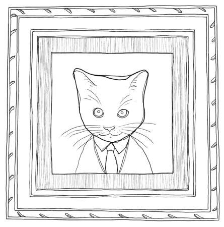 Pintura Del Cuadro Del Gato En Madera De época Enmarcada Fotos ...