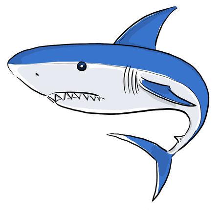 damaging: White Shark Painting