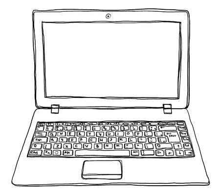 laptop notebook computer cute line art Фото со стока