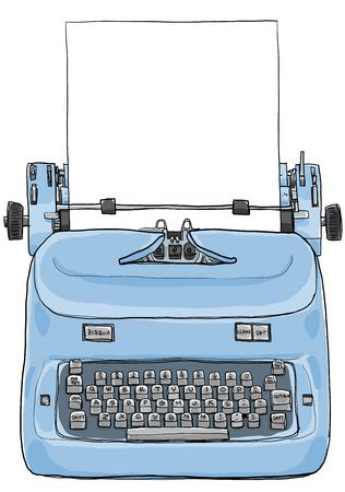 Elektrische vintage schrijfmachine met papier kunst schilderen