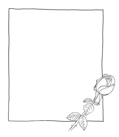Blank paper with red roses vintage line art photo