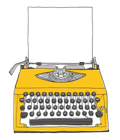 maquina de escribir: M�quina de escribir de la vendimia de color amarillo con la pintura de papel Foto de archivo