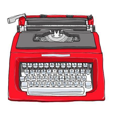 red vintage typewriter cute art painting  illustration