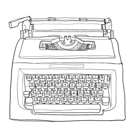 red vintage typewriter cute line art painting  illustration Banco de Imagens