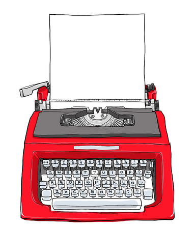 old typewriter: red vintage typewriter with paper cute art painting  illustration