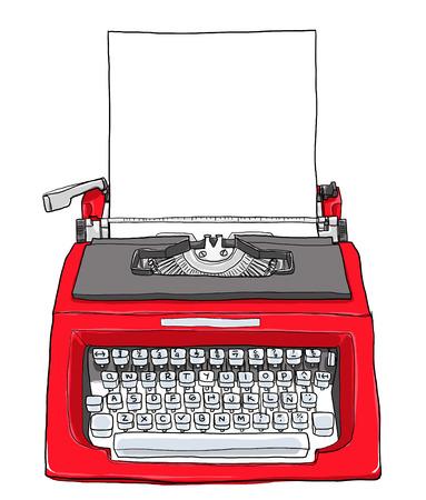 rode vintage schrijfmachine met papier schattige schilderen illustratie Stockfoto