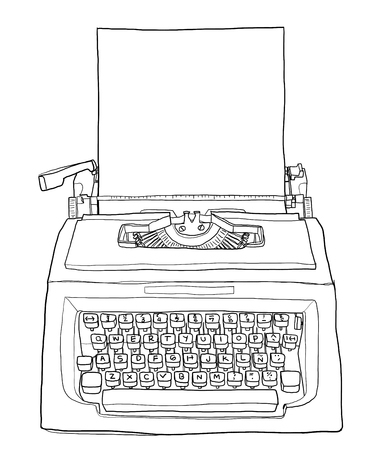 red vintage typewriter with paper cute line art painting  illustration