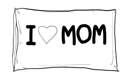 i love mom-pillow cute line art photo