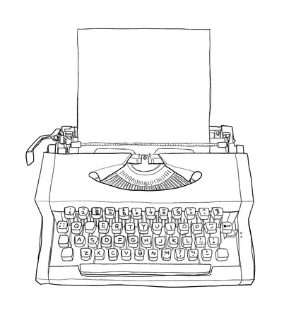qwerty: vintageTypewriters and paper  cute line art