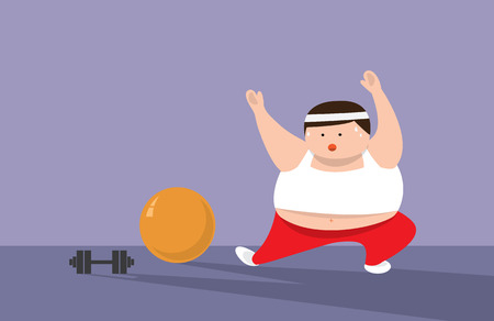 chubby cartoon: Fat Man or Fat women are exercising Illustration