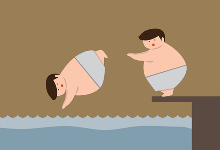 young boy in pool: Fat boys are swimming vector Illustration