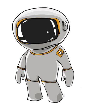 spaceman: cartoon Spaceman looks a cute Stock Photo