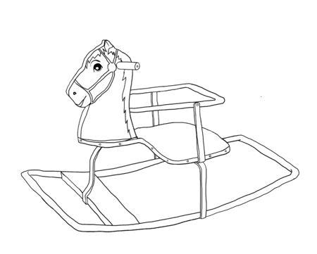 old horse: rocking horse  wooden Vintage old toy line art