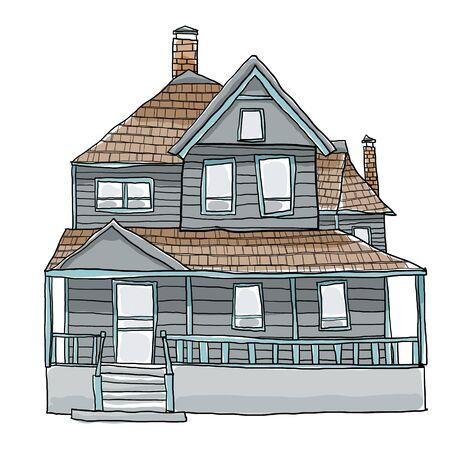 luxury home exterior: vintage house cute art illustration Stock Photo