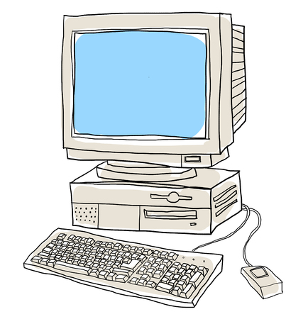 computer system: old computer desktop  cute art illustration