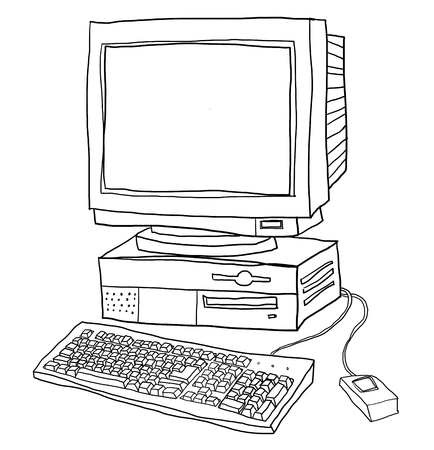 old computer desktop  cute line art illustration Stock Photo