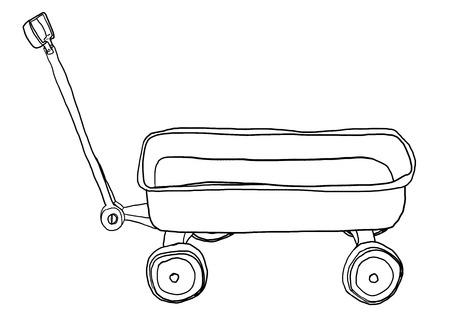 pull: Vintage Pull Mini Wagon lineart illustration Stock Photo