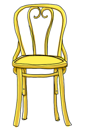 vintage chair: vintage chair bentwood chair cute painting illustration