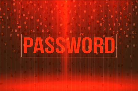 computer language: red password background security concept vector illustration Illustration