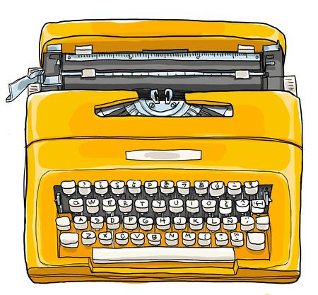 maquina de escribir: Amarillo Máquina de escribir del ejemplo del vintage máquina de escribir manual portátil Foto de archivo