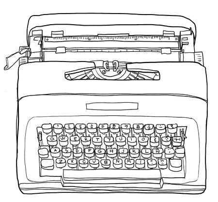 the typewriter: M�quina de escribir amarilla l�nea de m�quina de escribir port�til vendimia ilustraci�n del arte