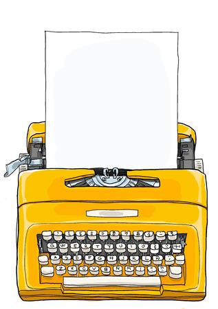空白の紙の図で黄色のタイプライター ヴィンテージ ポータブル手動タイプライター