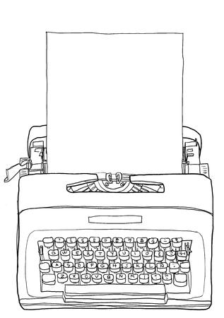 Yellow Typewriter  Vintage Portable Manual typewriter  with blank paper line art illustration
