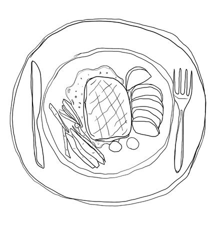 steak plate: steak in dish cute lineart illustration Stock Photo