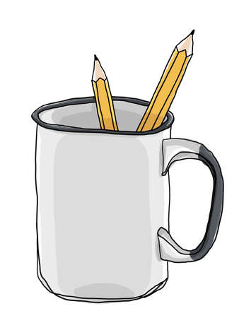 stoneware: cup stoneware mug and pencil cute illustration