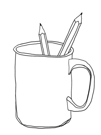 cup stoneware mug and pencil cute line art illustration Stock Photo