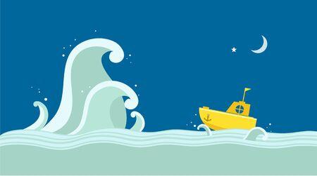big boat: Yellow Boat and big wave illustration Illustration