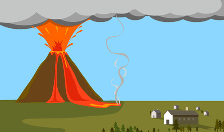 Volcano erupting exploded near a village illustration