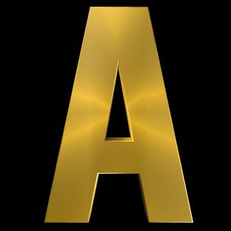 shiny gold: Alphabet gold font A