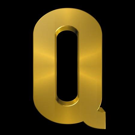 gold font: Alphabet gold font Q