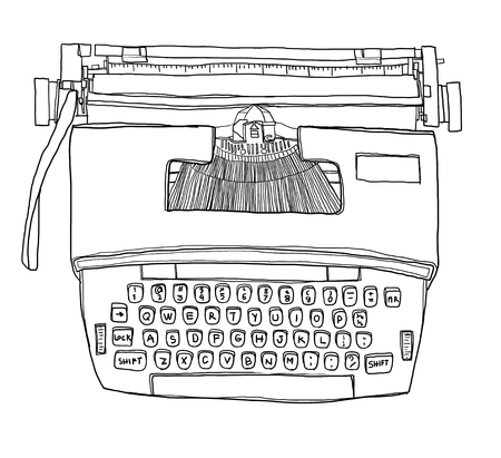typewriting machine: Typewriter  Vintage Electric cute line art illustration