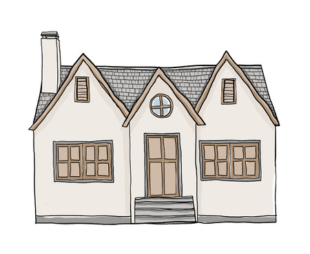 small house: vintage small house cute illustration