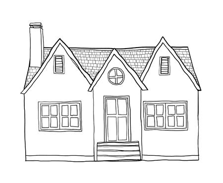 european culture: vintage small house cute lineart illustration