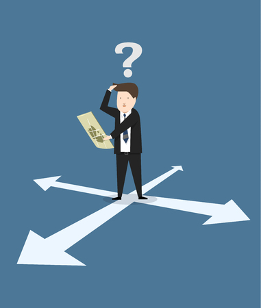 Business lost  he're looking at the map vector illustration Illustration