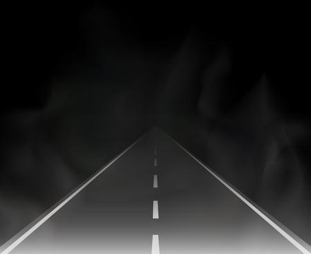 road and fog in the night illustration