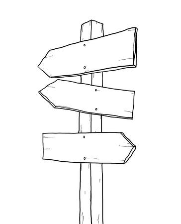 old sign: old sign junction lineart illustration