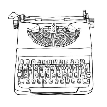 classic authors: british typewriter cute line art illustration
