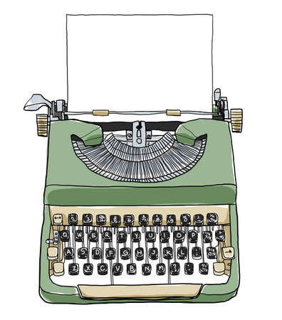typewriting machine: green british typewriter with paper  cute art illustration