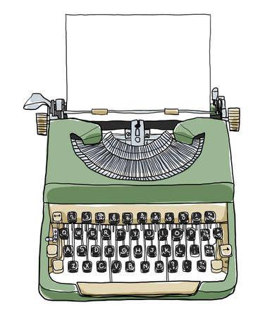 green british typewriter with paper  cute art illustration