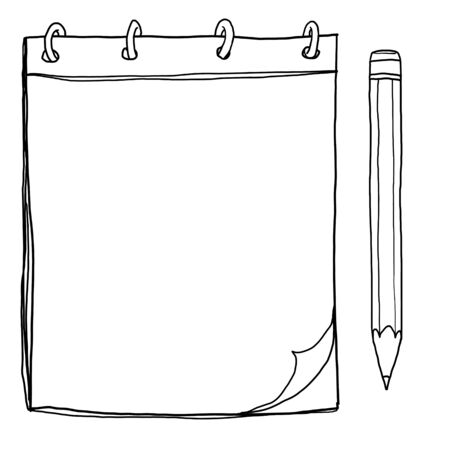 memo pad: notebook with pencil lineart painting cute illustration Stock Photo