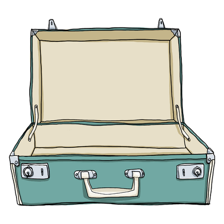 Vintage Luggage &  Suitcases Travel Open is empty cute illustration