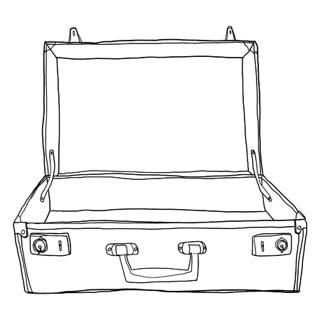 Vintage Luggage &  Suitcases Travel Open is empty cute lineart illustration