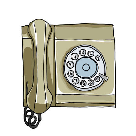 vintage telephone: green telephone Vintage Wall Phone illustration